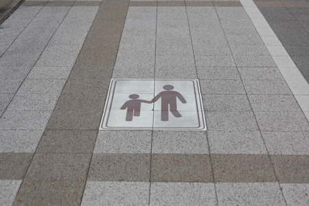 labeling: Labeling of pedestrian priority routes Stock Photo