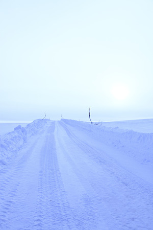 road in winter: One of the winter road