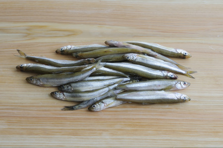 smelt: Surf smelt on the cutting board Stock Photo
