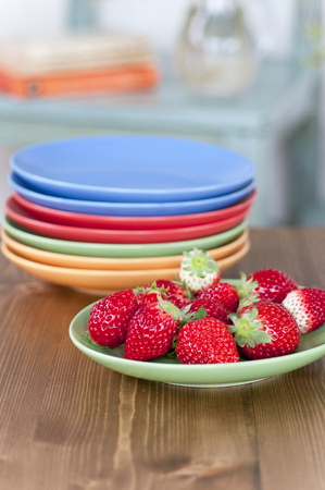tableware: Strawberries and colorful tableware
