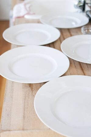 lined: White dish lined on the table