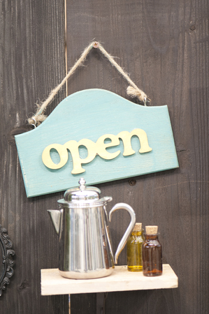 over the counter: Open sign of Stock Photo