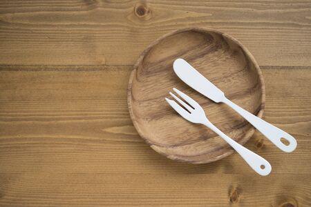 enamel: Cutlery of tableware and enamel of the tree Stock Photo