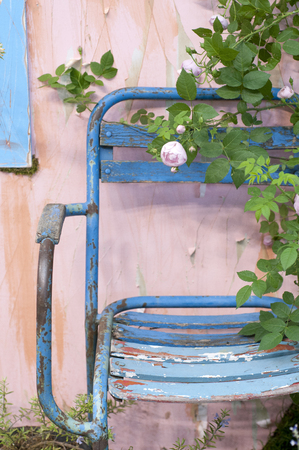 folding: Folding chair and roses Stock Photo