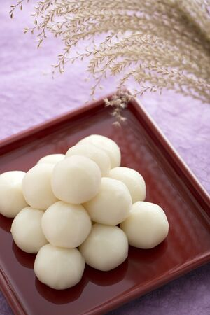 annual events: Dumplings and Japanese pampas grass Stock Photo
