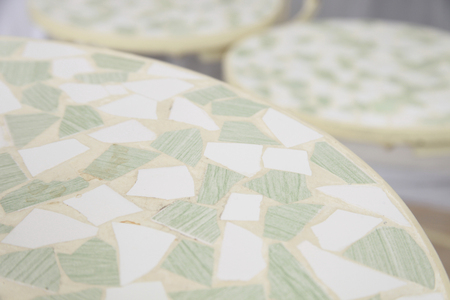 bonded: Tiled tables and chairs