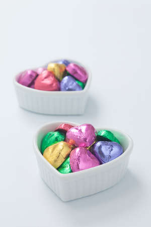 heartshaped: The vessels of the heart and heart-shaped chocolate Stock Photo