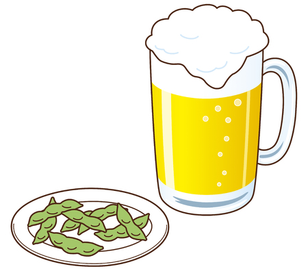 beers: Beers and Edamame Stock Photo