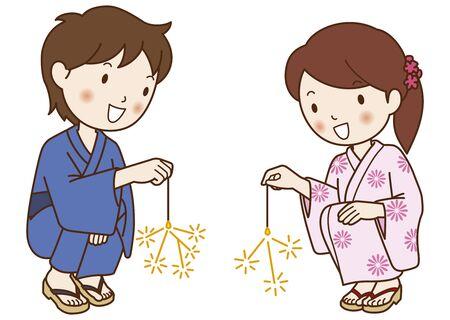 yukata: Yukata of men and women to enjoy a sparkler Stock Photo