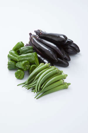 gustatory: Eggplant and peppers and okra Stock Photo