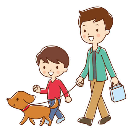 walk in: Father and son for a walk in the dog