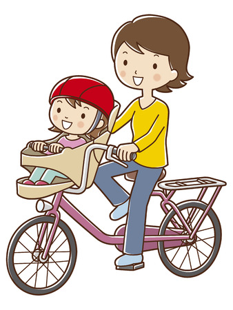 Mom riding a bicycle and put the children Stock Photo