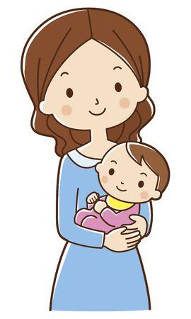 Mom to hug the baby