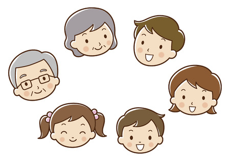 three generations: 6 person family faces. Stock Photo
