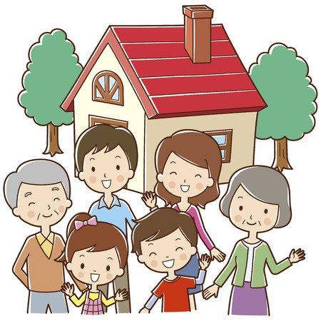 family in front of house: Six family standing in front of the house Stock Photo