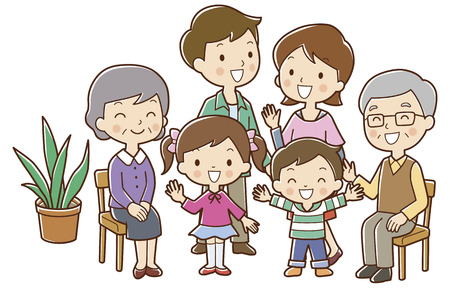 three generations: 6 family of smile Stock Photo