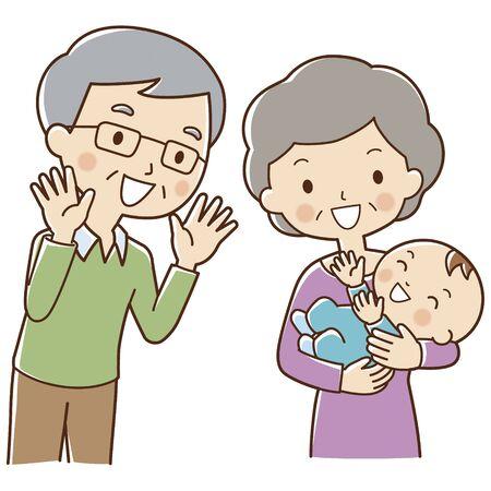 Opa wieg van een baby grandma knuffel Stockfoto