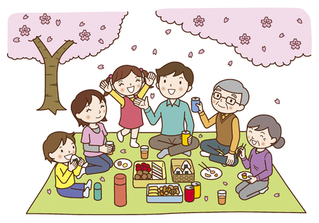 that: Family of six that the cherry blossoms Stock Photo