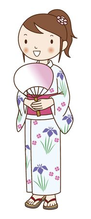 have: Yukata of women who have fan