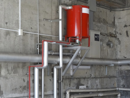 extinguishing: Fire extinguishing equipment of parking Stock Photo