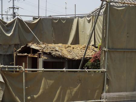 house demolition: House demolition construction site Stock Photo