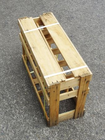 sho: Wooden box of sho bottle Stock Photo
