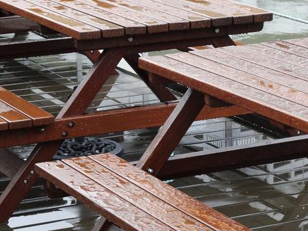 be wet: Garden table wet with rain
