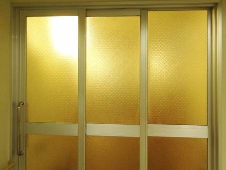 sliding: Sliding doors of aluminum sash Stock Photo