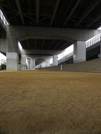 overpass: Square under the road overpass