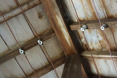 attic: Insulated from the attic of the wire of the wooden building insulator