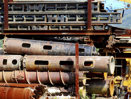 decomposed: steel frame of the decomposed crane Stock Photo