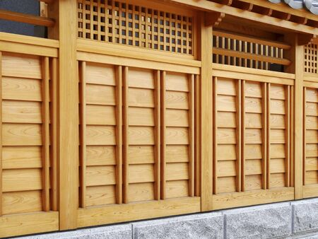 dwelling: Fence of wooden building Stock Photo
