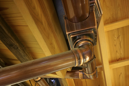 copper: Copper guttering Stock Photo