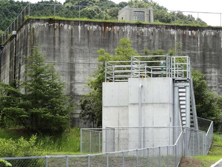 adjustment: Adjustment facilities and reservoirs of water distribution supply of agricultural water Stock Photo