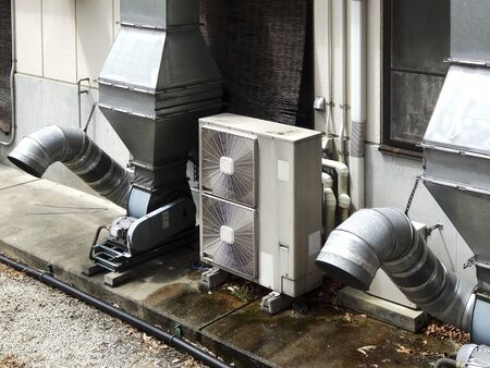 forced: Factory of forced ventilation system Stock Photo