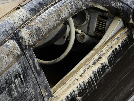passenger car: Passenger car of the mud in flood Stock Photo