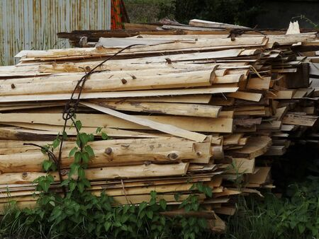 sawmill: End material of the timber of the sawmill