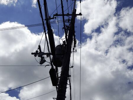 telephone poles: Telephone poles and wires of the silhouette