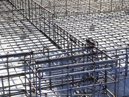 on rebar: Rebar of the foundation work of the warehouse