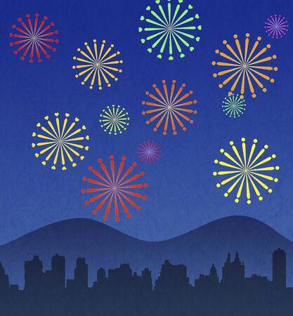 skyrocket: City and fireworks