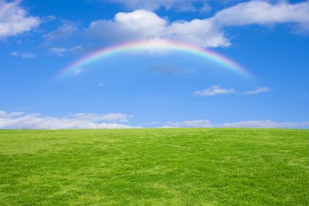 Grasveld en blauwe hemel en regenboog Stockfoto