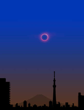 eclipse: Sky tree and the annular solar eclipse