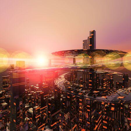 amanecer: Ciudades del futuro Foto de archivo