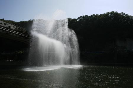 Large fountain of Yunogo Onsen Egret