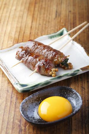 herida: Pinchos de carne herida Enoki