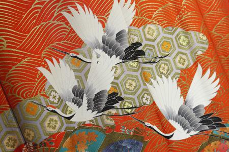 adjournment: Kimono crane pattern