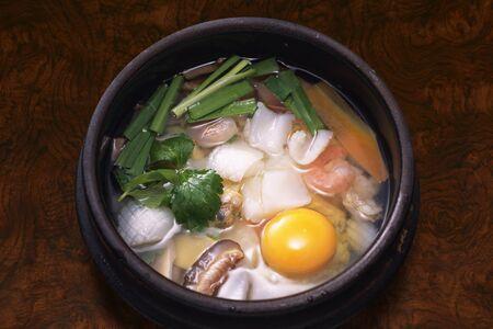 porridge: Seafood porridge Stock Photo