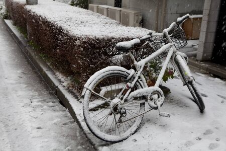 bike cover: Snow city Stock Photo