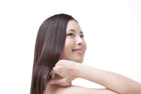 stroking: Stroking hair women