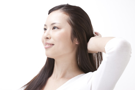 Woman to increase scraping the hair Stock Photo